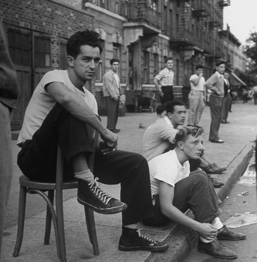 Spectators watching a punchball game, NY September 1946