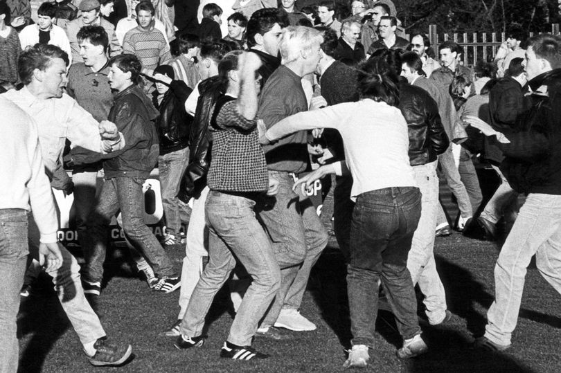 Mob: Clash in 1986 between fans of Darlington and Middlesbrough
